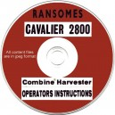 RANSOMES CAVALIER 2800 COMBINE OPERATORS INSTRUCTIONS ON CD
