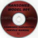 RANSOMES 801 COMBINE SERVICE MANUAL ON CD