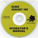 CLAAS VARIANT 180 BALER OPERATOR'S MANUAL ON CD