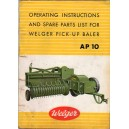ORIGINAL AP10 BALER OPERATING INSTRUCTIONS & SPARES LIST