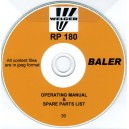 WELGER RP 180 BALER OPERATING MANUAL & SPARE PARTS LIST ON CD