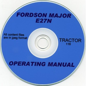 FORDSON MAJOR E27N TRACTOR OPERATORS MANUAL ON CD
