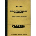 ORIGINAL CLAYSON M 140 COMBINE OPERATOR'S MANUAL