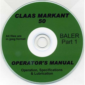 CLAAS MARKANT 50 BALER OPERATOR'S MANUAL PART 1 ON CD