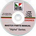 LISTER PETTER LPW, LPWT, LPWS MASTER PARTS MANUAL ON CD