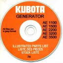 KUBOTA AE GENERATORS ILLUSTRATED PARTS BOOK ON CD