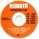 KUBOTA AE900, 1300, 1900, 2600, 3050 GENERATOR PARTS BOOK ON CD