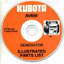 KUBOTA AV650 GENERATOR ILLUSTRATED PARTS LIST