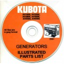 KUBOTA AV1600, AV2500, AV3800, AV4500, AV5500, AV6500 GENERATOR PARTS LIST ON CD