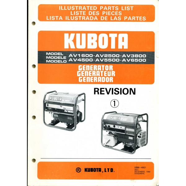 original kubota parts manual for av1600 av2500 av3800 av4500 rh farmyardmanuals com Kubota Wiring Diagram PDF Kubota Alternator Wiring Diagram