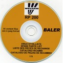 WELGER RP200 SPARE PARTS LIST ON CD